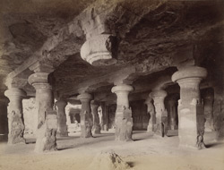 Elephanta Caves. Interior towards the Lion Caves